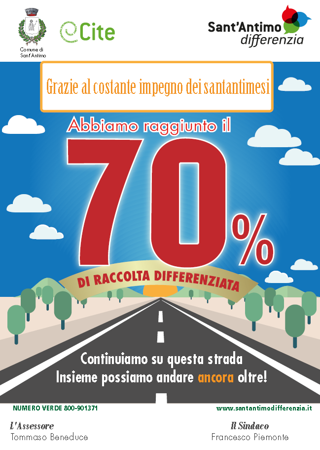 Raccolta differenziata al 70% 2017