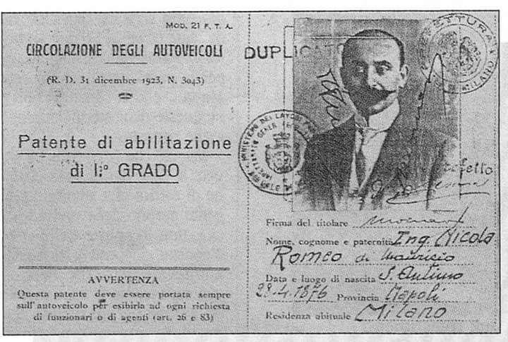 Patente Nicola Romeo