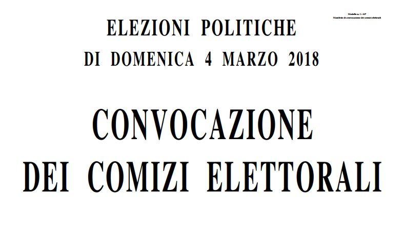 Convocazione dei comizi Politiche 2018